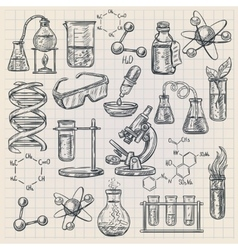 Chemistry icon in doodle style vector