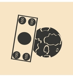 Flat in black white earth and dollar vector