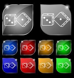 Dices icon sign set of ten colorful buttons with vector