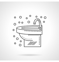 Wash basin with faucet flat line icon vector