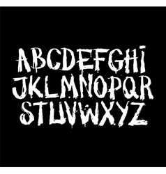 Hand drawn grunge font detailed alphabet vector