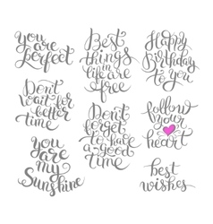 Set of hand written motivation inscription vector