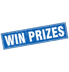Win prizes blue square grunge stamp on white vector