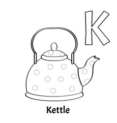 alphabet letter k coloring page kettle vector image