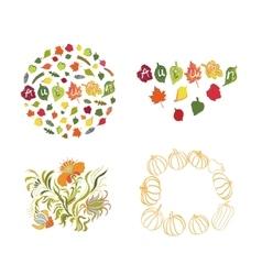 Autumn leaves set on white background vector image