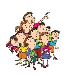Cartoon group of children spectators watch vector