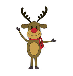 Color image cartoon full body reindeer with scarf vector