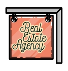 Color vintage real estate agency emblem vector image vector image