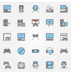 Console gaming flat icons vector
