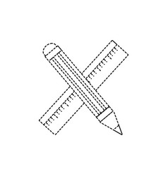 Dotted shape ruler and pencil school tool vector