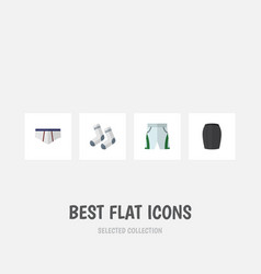 Flat icon dress set of underclothes foot textile vector