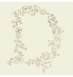 floral font letter d vector image vector image