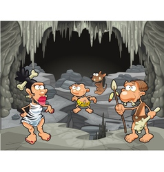 Funny prehistoric family in the cavern vector image