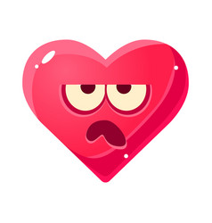 Grumpy emoji pink heart emotional facial vector