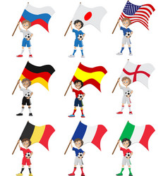 Happy soccer fan holds flag vector