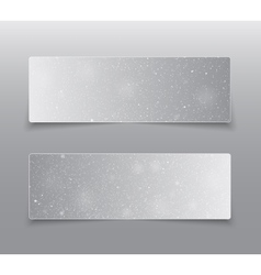 Horizontal grey rectangle banners snow winter vector