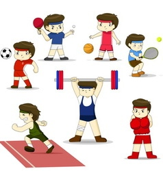 Isolated cartoon sport set vector image