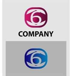 Logo icon design template elements the number 6 vector