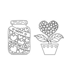 marson jar and love tree vector image vector image