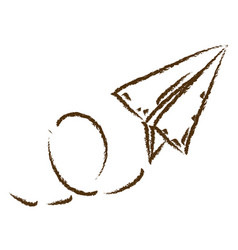 Monochrome hand drawn silhouette of paper plane vector