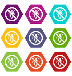 no louse sign icon set color hexahedron vector image