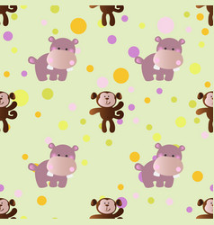 Pattern with cartoon cute toy baby behemoth vector