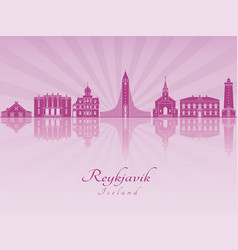 Reykjavik skyline in purple radiant orchid vector