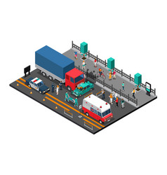 road crash isometric vector image vector image