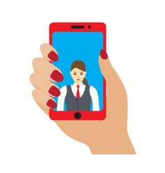 Selfie photo on smartphone vector image