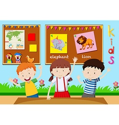 Three children learning in classroom vector image vector image