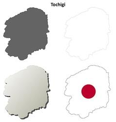 Tochigi blank outline map set vector