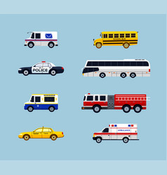 Vehicle transportation - flat design icons vector