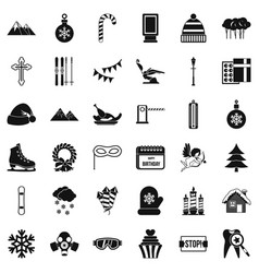 winter holiday icons set simple style vector image vector image
