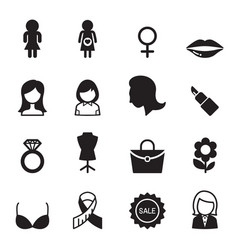 Woman icon set vector