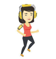 Woman running with earphones and smartphone vector