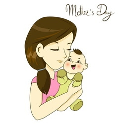 Mother holding her little baby with love vector