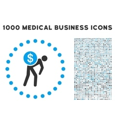 Money courier icon with 1000 medical business vector
