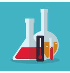 Colorful flask thermometer and laboratory design vector