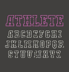 Slab serif contour font in sport style vector
