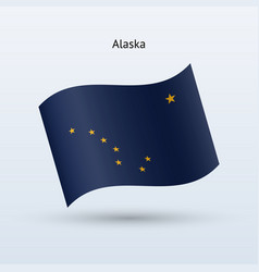 State of alaska flag waving form vector