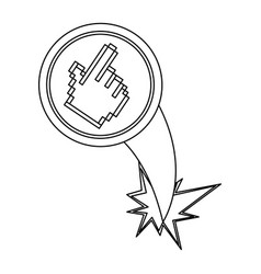 figure hand cursor with hole icon vector image