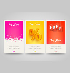 modern colorful vertical banners with price labels vector image