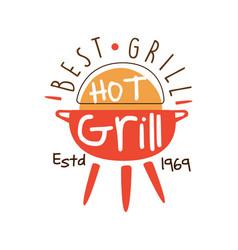 Best hot grill estd 1969 logo template hand drawn vector