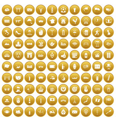 100 tourist attractions icons set gold vector