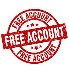 Free account round red grunge stamp vector