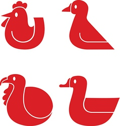 Poultry icons vector