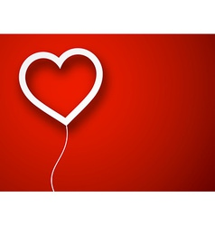 Paper balloon heart over red vector image
