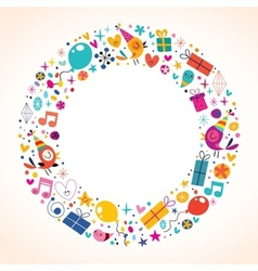 Happy birthday circle frame border background vector