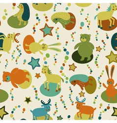Seamless pattern with cartoon forest animals vector