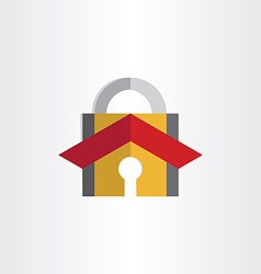 Padlock with house roof security lock symbol vector